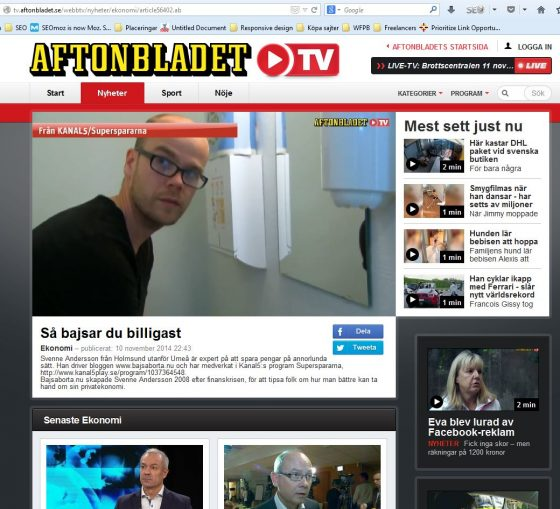 Inslag på Aftonbladet TV 2014-11-10